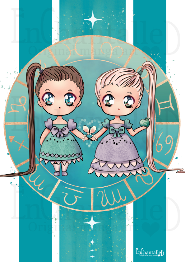 Chibi Zodiak tweeling_art print_preview_EnChantalled